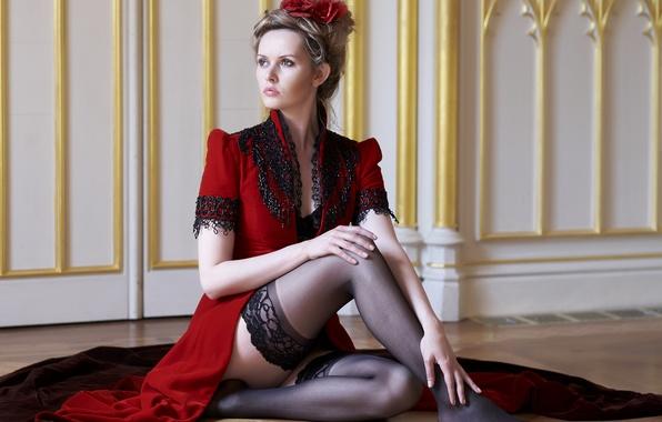 Picture pose, style, stockings, dress, legs, on the floor, Carla Monaco