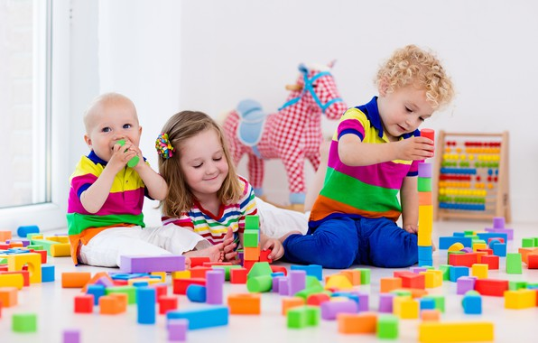 Picture children, the game, colorful, designer, toy, blocks, playing, Kids