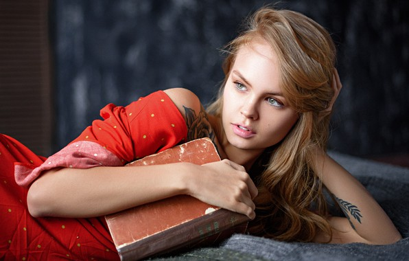 Picture face, pose, model, hands, tattoo, book, Anastasia Shcheglova, Anastasia Shcheglova, Max Pyzhik, Maxim Fawn