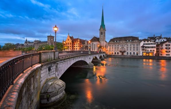 Picture bridge, river, home, Switzerland, lantern, spire, Zurich