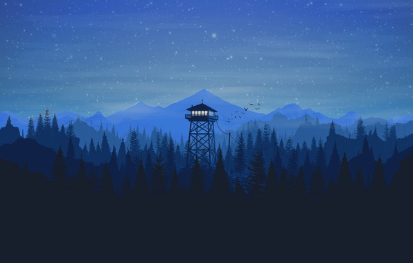 Picture Mountains, Night, Stars, The game, Forest, View, Birds, Hills, Landscape, Art, Tower, Campo Santo, Firewatch, ...