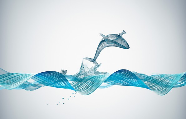 Picture Creative, Underwater, Illustration, Graphics, Whale, Sound Waves