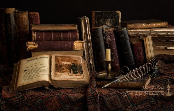 Picture pen, books, candle, illustration