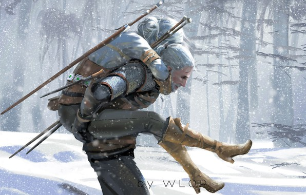 Picture Winter, Figure, The game, Snow, Sword, Art, Art, Winter, The Witcher, Snow, Geralt, Game, Witcher, …