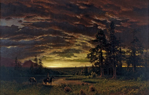 Picture landscape, nature, art, Albert Bierstadt, Albert Bierstadt, Evening on the Prairie