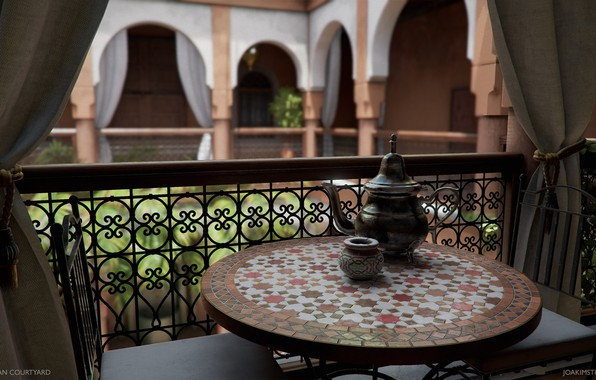 Picture table, chairs, dishes, curtains, Moroccan Courtyard