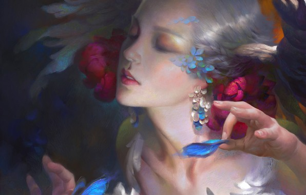 Picture face, earrings, hands, hairstyle, flowers in her hair, elf, white hair, art, eyes closed, Wei …