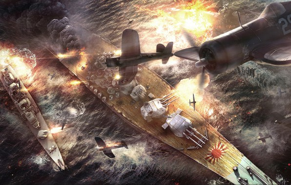 Picture ships, battle, the battle, aircraft, Battle of Okinawa