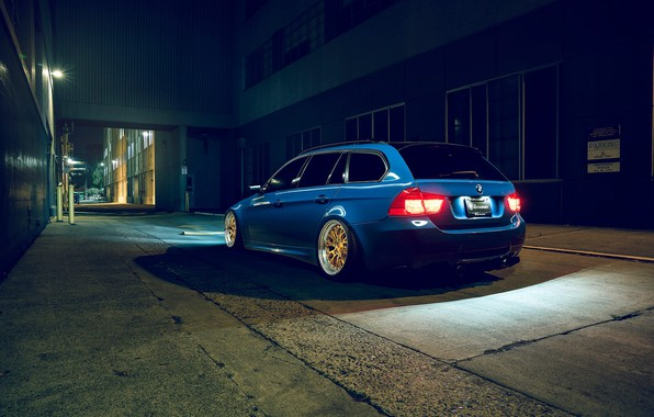 Picture BMW, Blue, Stance, Rear, E91, Rotifrom