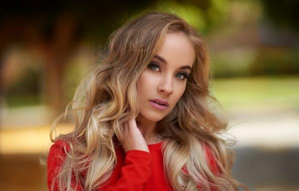 Picture look, portrait, makeup, hairstyle, blonde, beauty, in red, bokeh, Lisa, Ariel Grabowski