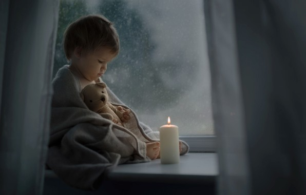 Picture night, toy, candle, baby, window, bear, sill, shawl, child, Katrina Parry