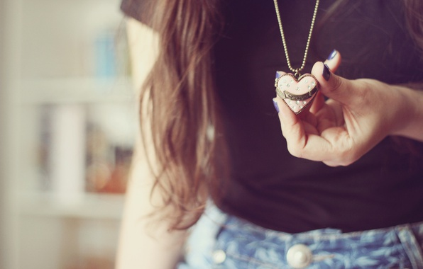 Picture girl, heart, pendant, love, suspension