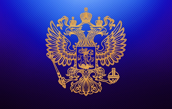 Picture blue, background, gold, Wallpaper, eagle, wings, crown, Horse, claws, snakes, wallpaper, gold, coat of arms, …