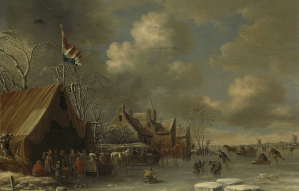 Picture winter, landscape, people, picture, Fun on the Ice, Thomas Heremans