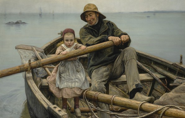 Picture 1881, French painter, French painter, The helping hand, A helping hand, Emile Renouf, Emil Renouf