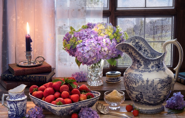 Picture flowers, style, berries, books, candle, window, strawberry, sugar, pitcher, still life, hydrangea