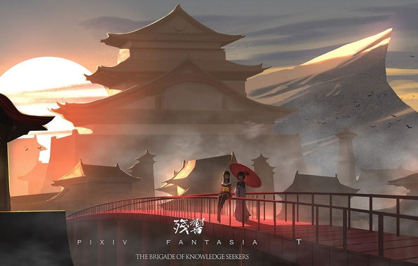 Photo Wallpaper Lantern Dawn Pagoda Birds Pixiv Fantasia Two Temple