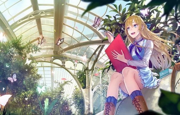 Picture girl, butterfly, anime, kirinosuke