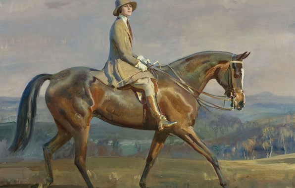 Picture girl, horse, picture, Alfred James Munnings, Alfred James Munnings, Equestrian Portrait Of Mrs. Margaret Park