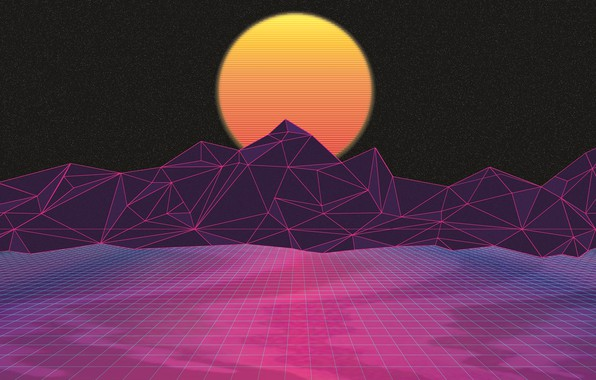 Picture The sun, Mountains, Music, Stars, Neon, Space, Star, Background, Graphics, Electronic, Synthpop, Darkwave, Synth, Retrowave, …