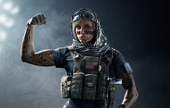 Picture girl, gun, soldier, weapon, woman, blue, Rainbow Six, tatoo, american flag, flag, blonde, pose, rifle, ...