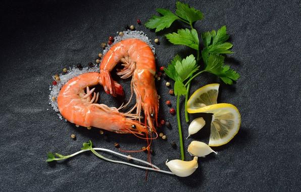 Picture greens, lemon, pepper, shrimp