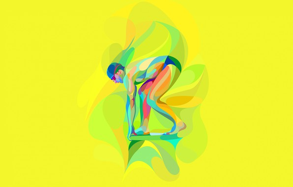 Picture glasses, swimmer, start, low poly, swimming