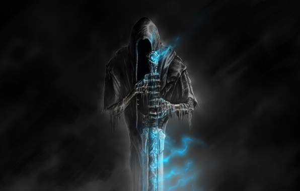 Picture death, darkness, bones, horror, art, blue flame, a magical artifact, Nazgul, Welcome to Hell, Sawan