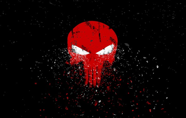 Picture red, fragments, skull, art, sake, black background, the punisher, the Punisher