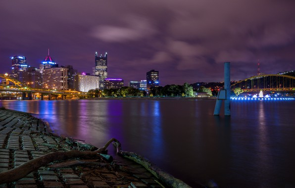 Picture night, lights, USA, Pittsburgh, Pittsburgh