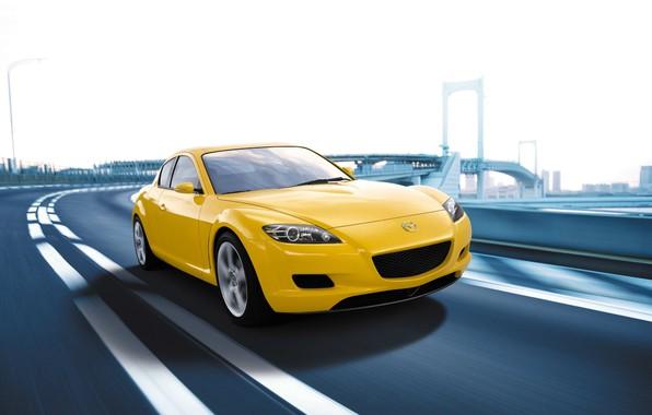 Picture Auto, Road, The city, Speed, Yellow, Mazda, Mazda RX 8
