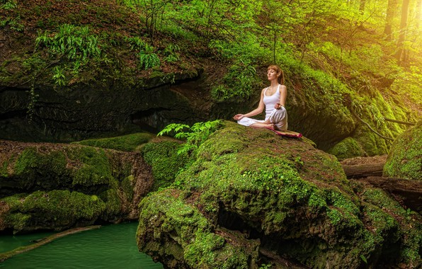 Picture greens, forest, water, girl, trees, nature, pose, stones, moss, Mike, meditation, hairstyle, yoga, brown hair, …