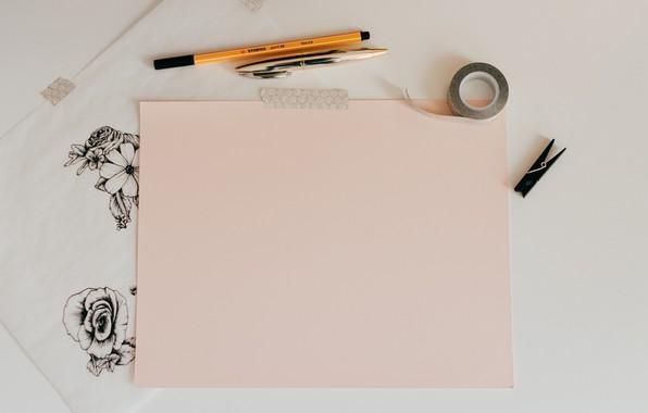 Picture flowers, paper, figure, handle, pencil, flowers, paper, pencil, drawing, pen, a sheet of paper, marker, …