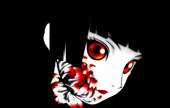 Picture void, darkness, red eyes, black hair, art, bloody, chrysanthemum, Enma Ai, Jigoku Shoujo, Hell girl, …
