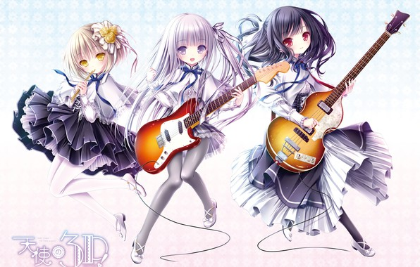 Photo wallpaper girls, guitar, trio