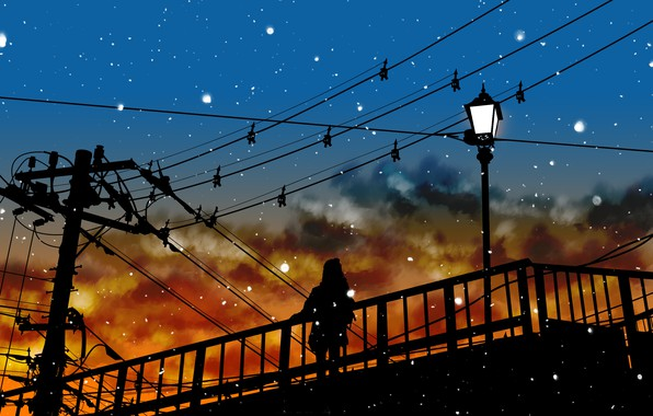 Picture the sky, girl, snow, silhouette, lights, power lines