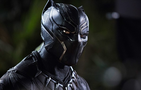 Photo wallpaper cinema, man, movie, panther, hero, film, mask, king, uniform, yuusha, seifuku, Black Panther, Chadwick Boseman, ...