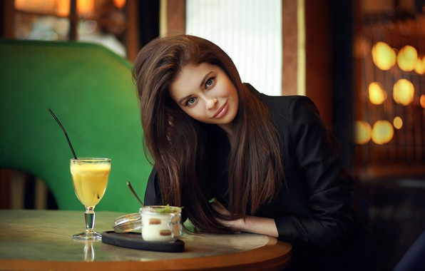 Picture girl, Model, green eyes, long hair, photo, lips, face, brunette, cocktail, table, smiling, sitting, portrait, …