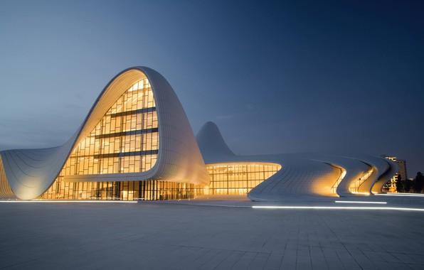Picture city, lights, clear sky, twilight, sky, square, modern, evening, architecture, building, cityscape, tiles, Azerbaijan, Baku, …