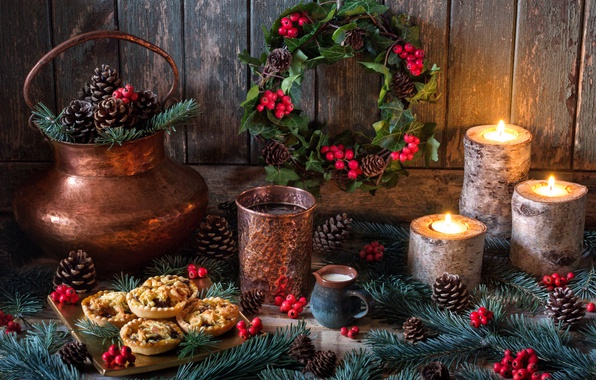 Picture style, berries, candles, New Year, Christmas, still life, bumps, cake