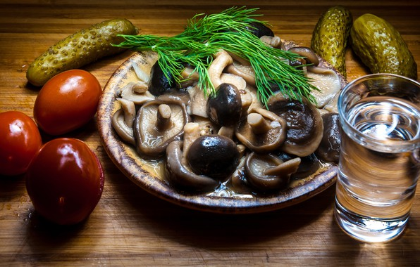 Picture glass, table, mushrooms, dill, plate, vodka, tomatoes, cucumbers, appetizer, marinated