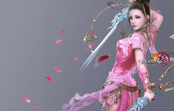 Photo wallpaper girl, the game, sword, warrior, art