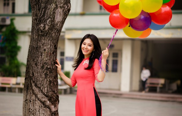 Picture girl, smile, mood, dress, Asian, balloons, smiling, Vietnamese
