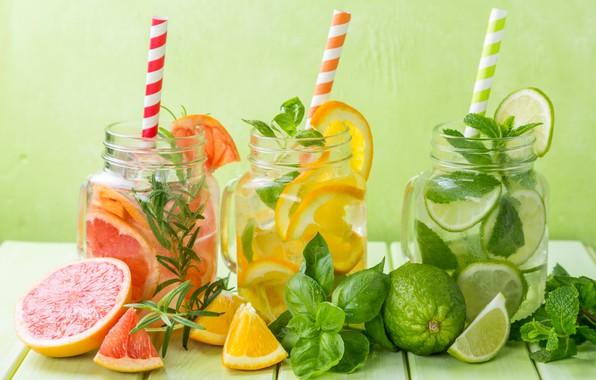 Picture lemon, jars, lime, citrus, drinks, mint, lemonade, tarragon