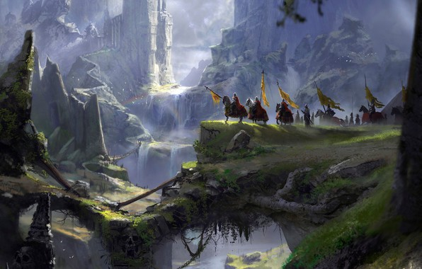 Photo wallpaper knights, mountains, abyss, fantasy port castle, A long journey