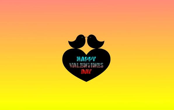 Picture birds, text, heart, minimalism, Valentine's Day