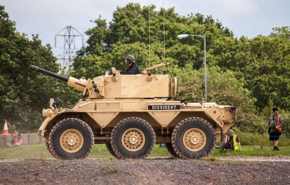 Picture soldier, military, man, tank, armored, pearls, vegetation, cannon, armored vehicle, British army, kabuto, FV601 Saladin, …