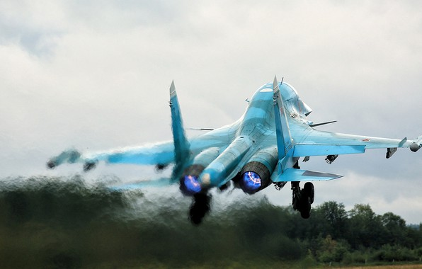 Picture fighter-bomber, Fullback, Su-34, Russian multifunctional, Duck