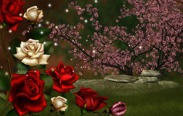 Picture stones, collage, roses, flowering
