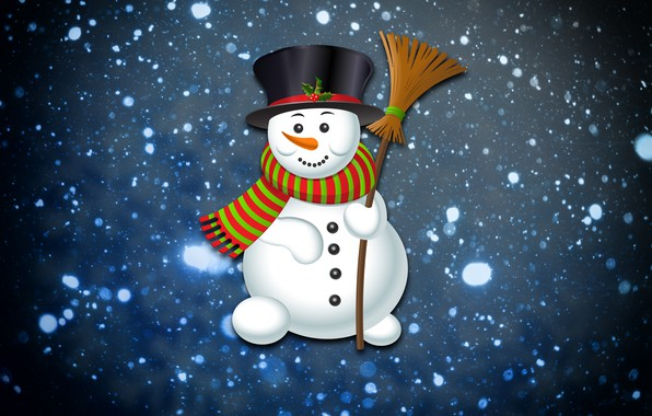 Picture Winter, Minimalism, Snow, Snowflakes, Background, New year, Holiday, Snowman